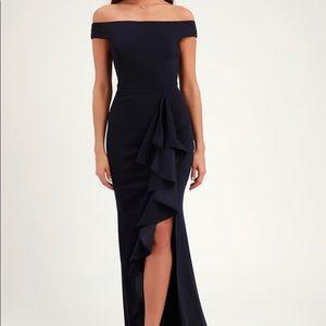 Mila Navy Blue Ruffled Off-the-Shoulder Maxi Dress